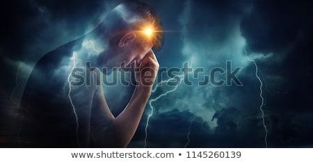 Stock foto: Depressed Head Silhouette With Dark Rain Cloud