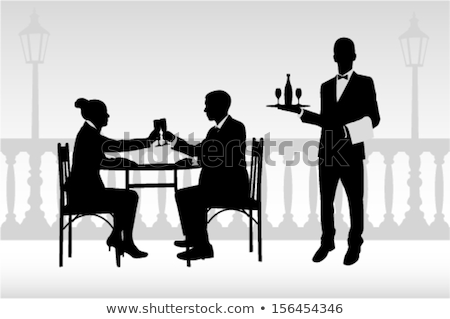 waiter silhouette with wine bottle Stock photo © coolgraphic