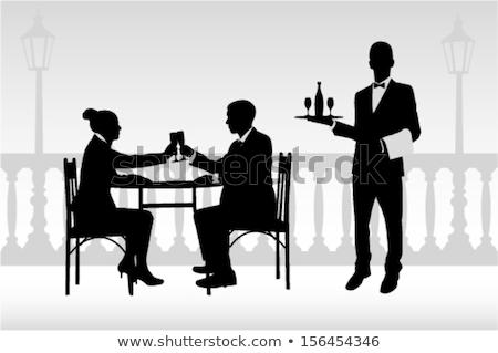 garson · siluet · şarap · şişesi · tepsi - stok fotoğraf © coolgraphic