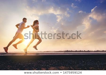 Runner cartoon salute profilo atleta tempo libero Foto d'archivio © carbouval