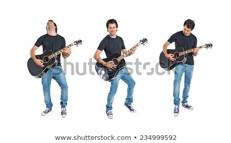 Jonge man spelen akoestische gitaar natuur jonge kaukasisch Stockfoto © elly_l