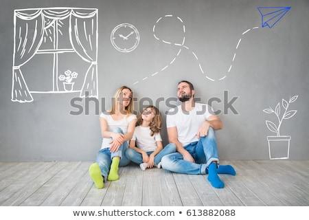 famiglia · felice · seduta · piano · felice · famiglia - foto d'archivio © lovleah