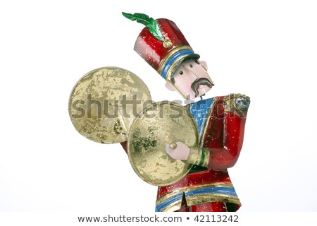 Toy Soldier Cymbal Player Isolated White Stock fotó © mkm3