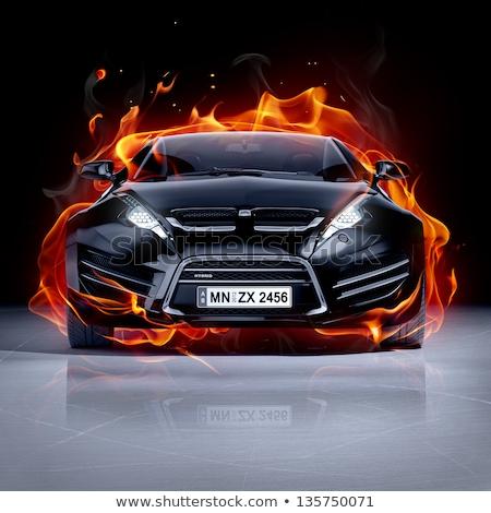 Sportok tüzes autó sportautó láng sötét Stock fotó © -Baks-