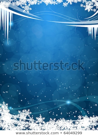 Frosty Christmas frame with snowflakes and icicles Stock photo © Artida
