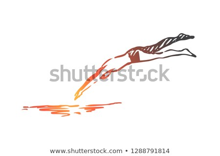Swimming Diving Vector Sketch Silhouette Stock photo © chromaco