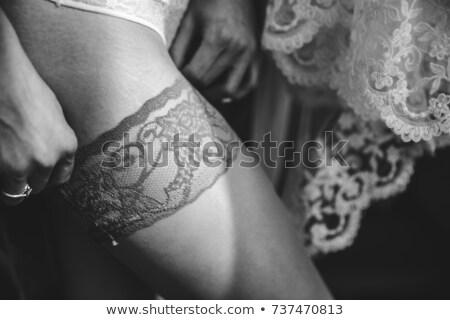 女性 魚網 ストッキング 革 ドレス ストックフォト © Elisanth