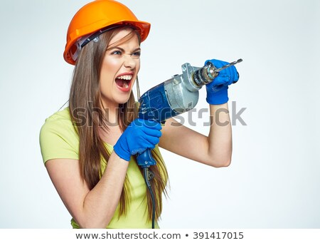 Screaming woman construction worker with drill Stock photo © pekour