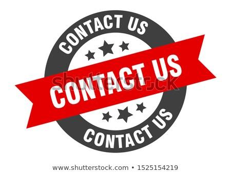 Stock fotó: épjen · kapcsolatba · velünk · - · Piros · gomb