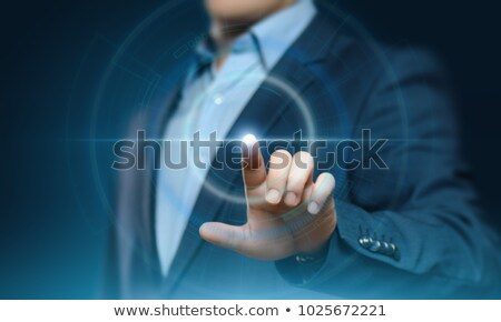 üzletember · kisajtolás · digitális · gomb · futurisztikus · technológia - stock fotó © hasloo