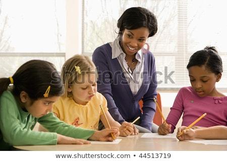 öğretmen · yardım · Öğrenciler · okul · sınıf · çerçeve - stok fotoğraf © hasloo