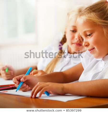 little girls drawing pictures and writing letters to santa claus stock photo © hasloo