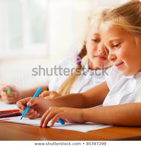 Kislányok rajz képek ír levelek mikulás Stock fotó © HASLOO