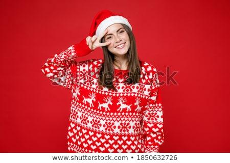 portret · piękna · młodych · christmas · kobieta · stwarzające - zdjęcia stock © HASLOO