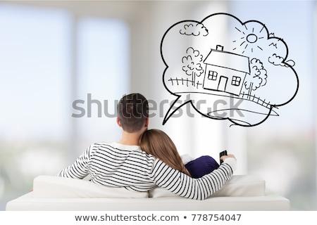 pár · tervez · új · otthon · boldog · bútor · új · ház - stock fotó © hasloo