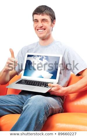 Portré fiatalember remek mutat kirakat laptop Stock fotó © HASLOO