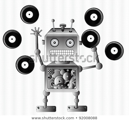 Black robot toy with vinyl records Stock photo © Elmiko