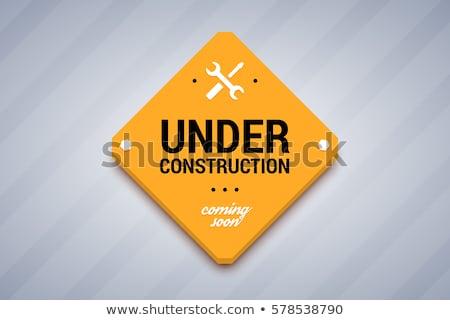 Construction jaune signe utilisé transport travaux Photo stock © nikdoorg