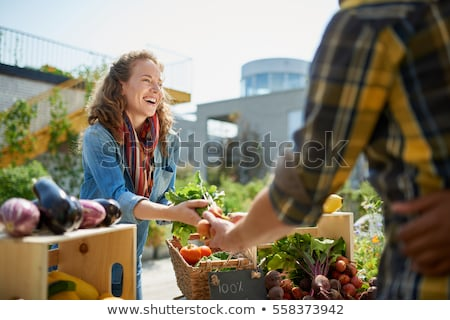 nő · vásárlás · helyi · piac · utca · zöld - stock fotó © photography33