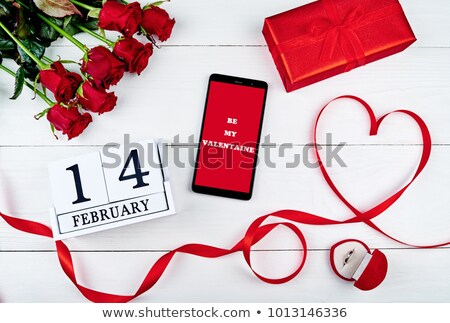 Stock photo: gift card with flowersdiamonds and ribbon