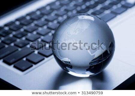 Cuaderno ordenador planeta tierra aislado blanco diseno Foto stock © WaD