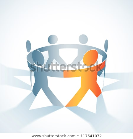 paper people in circle holding hands stock photo © lordalea