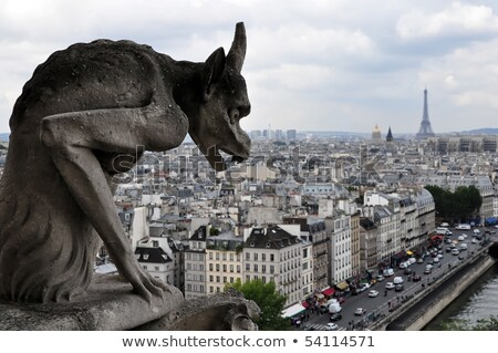 Gargoyle Staring over Paris Stock photo © teusrenes