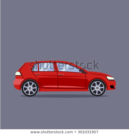 Red car hatchback on the road. Vector illustration Stock photo © leonido