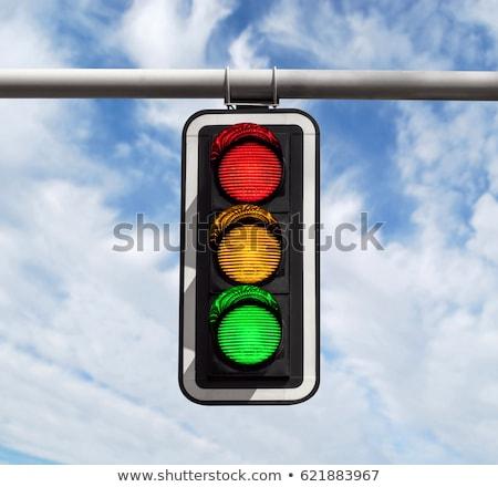 set of traffic lights red signal yellow signal green signal stock photo © leonido