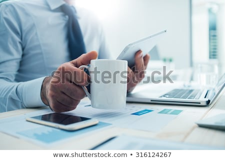 Tablet Computer With Cup Of Coffee Stock photo © adamson