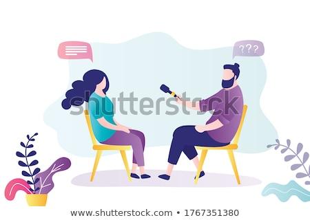 Karikatür kadın muhabir mikrofon yalıtılmış beyaz Stok fotoğraf © antonbrand