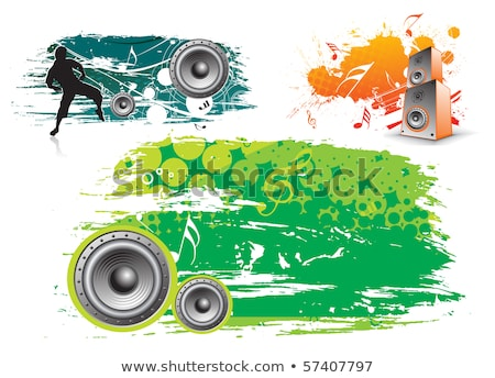 vector illustration for a musical theme with speakers on spring background stock photo © articular
