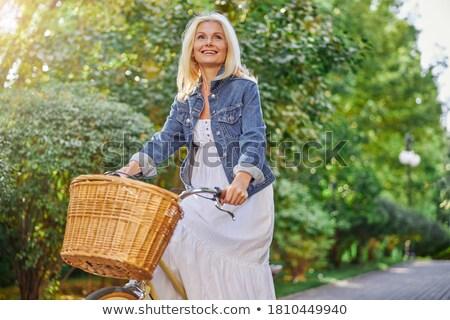 Nevet motoros nő kint nyár erdő Stock fotó © pekour