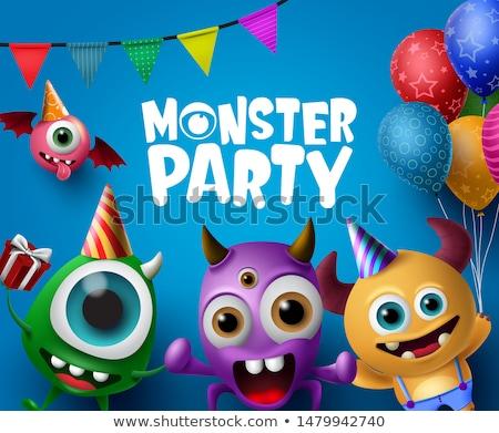 festa · monstro · desenho · animado · seis · bandeira - foto stock © blamb