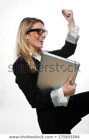 üzletasszony tart diadalmas ököl levegő nő Stock fotó © photography33