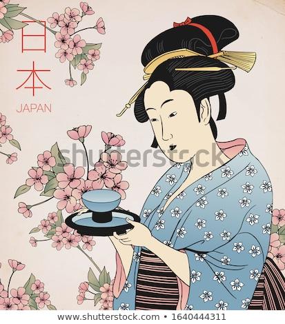 Japon kız çay fincanı kırmızı yüz kadın Stok fotoğraf © pzaxe