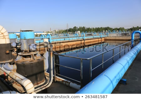 Water pumping station with machines and pipelines Stock photo © kawing921