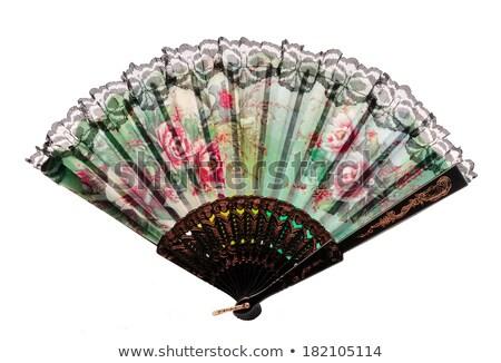 черно · белые · китайский · вентилятор · изолированный · белый - Сток-фото © pinkblue