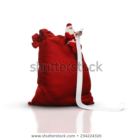 Santa Claus with sack full of gifts reading paper list Stock photo © LoopAll