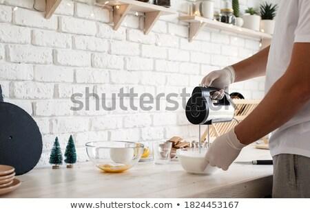 Férfi elektromos habaró fém ipari főzés Stock fotó © photography33
