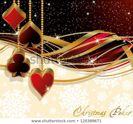 Christmas poker greeting banner, vector illustration  Stock photo © carodi