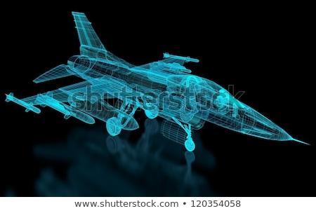 repülőgép · vadászrepülő · repülőgép · háló · háború · kék - stock fotó © nmcandre