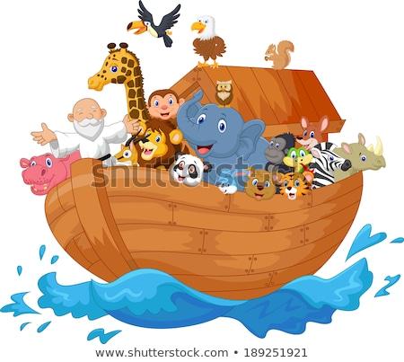 Cartoon charakter ptaków Biblii statku lew Zdjęcia stock © dagadu