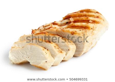 Csirkemell szeletel barbecue saláta citromsárga tányér Stock fotó © zhekos