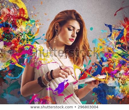 huis · schilder · verf · schilderij · cartoon · tonen - stockfoto © blamb