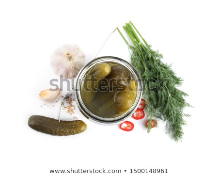 komkommers · vork · stijl · rustiek · selectieve · aandacht - stockfoto © vaeenma