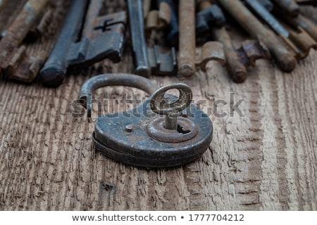 öreg · rozsdás · lakat · koszos · ajtó · copy · space - stock fotó © winterling