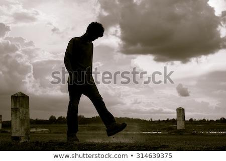Desempregado juventude vazio fundo espaço menino Foto stock © godfer