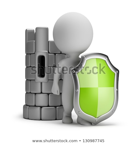 3d small people   shield and a castle stock photo © anatolym