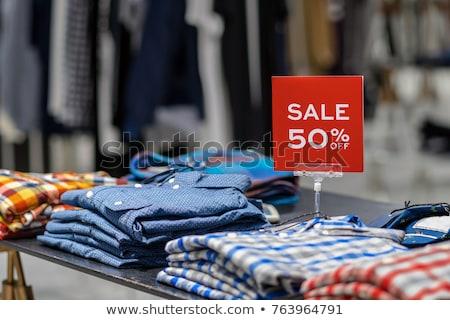 Kleding verkoop teken klassiek houten kleding Stockfoto © Lightsource